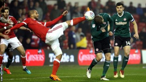 Nottingham Forest's Adlene Guedioura in action against Brentford at the City Ground