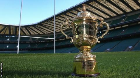 The Webb Ellis Cup is pictured on the Twickenham pitch, where the final will take place
