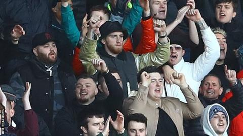Football Oli McBurnie at Swansea City's game at Cardiff