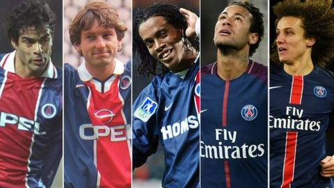 Rai, Leonardo, Ronaldinho, Neymar and David Luiz