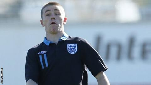 George Green in action for England Under-17s