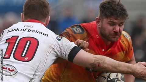 Kirby Myhill in action for Scarlets against Ulster