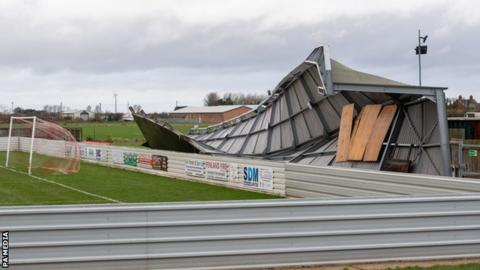 Wisbech Town FC's damaged stand in Cambridgeshire