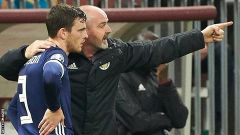 Scotland captain Andrew Robertson and head coach Steve Clarke