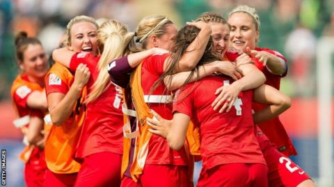 England Women celebrate beating Germany at the World Cup
