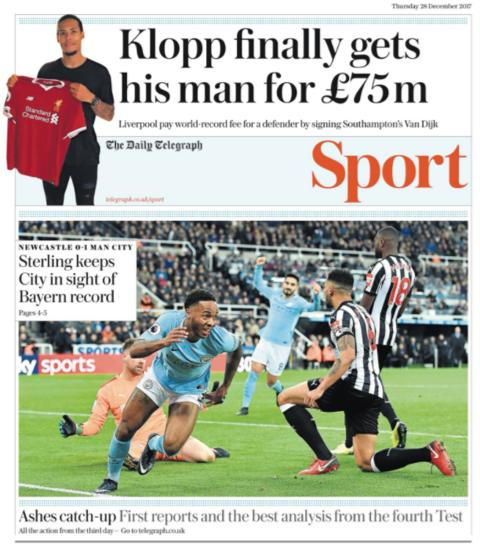 The Daily Telegraph sport section on Thursday