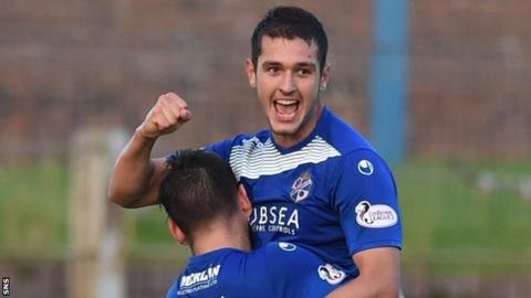 Nikolay Todorov celebrates a goal for Cowdenbeath
