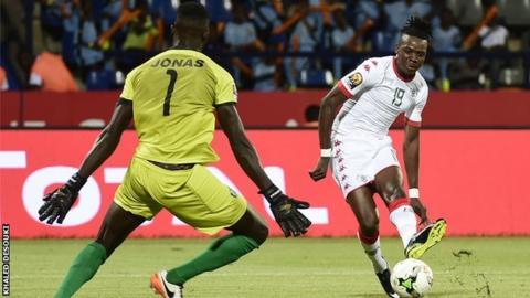 Betrand Traore scores Burkina Faso's second goal against Guinea-Bissau