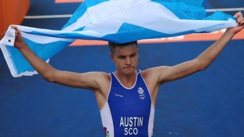 Marc Austin celebrates winning Commonwealth Games bronze for scotland