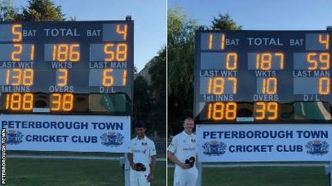 Before and after: Peterborough players Danyaal Malik and Kieran Jones with the scoreboard