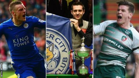 Leicester City's Jamie Vardy (left), snooker World Champion Mark Selby (centre) and Leicester Tigers' Freddie Burns