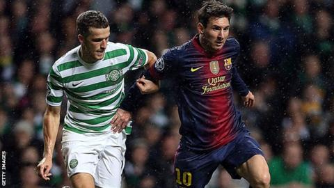 Adam Matthews, Celtic and Lionel Messi of Barcelona