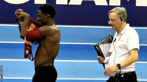 Dwain Chambers leaves the track