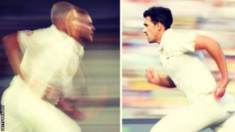 Stuart Broad, left, and Mitchell Starc can bowl in excess of 90mph but Starc maintains such speeds much more consistently