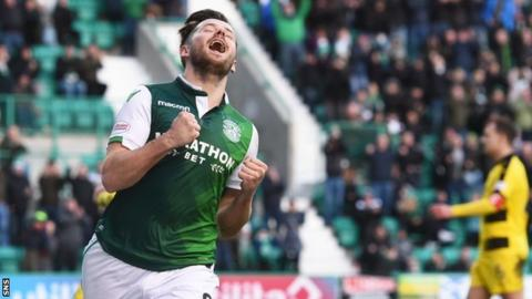 Marc McNulty in action for Hibernian