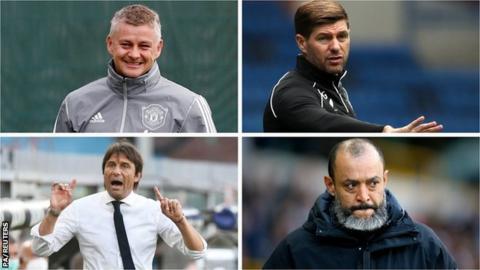 Ole Gunnar Solskjaer (Manchester United), Steven Gerrard (Rangers), Antonio Conte (Inter Milan) and Nuno Espirito Santo (Wolves)