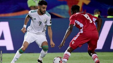 Manchester City and Algeria winger Riyad Mahrez runs with the ball