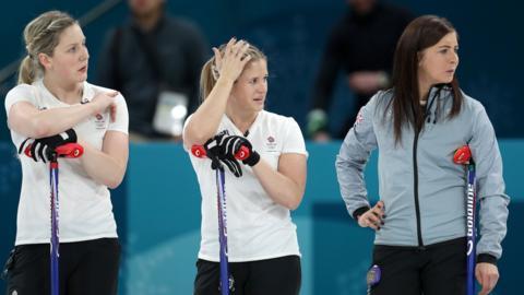 Britain's women's curling team look dejected