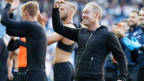 Steve Cooper celebrates Swansea City victory at Leeds