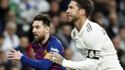 Lionel Messi and Serio Ramos