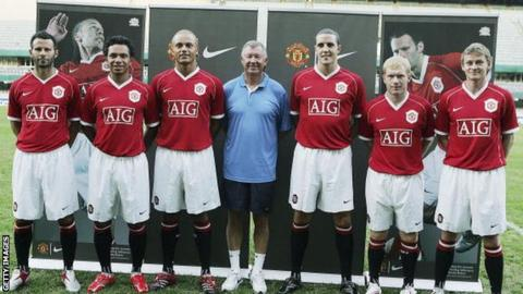 Ryan Giggs, Kieran Richardson, Wes Brown, Sir Alex Ferguson, John O'Shea, Paul Scholes and Ole Gunnar Solskjaer