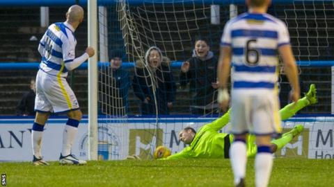 Morton midfielder Gary Harkins scores against Inverness