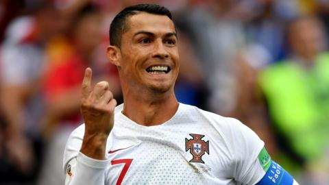 Portugal forward Cristiano Ronaldo celebrates scoring against Morocco at the World Cup