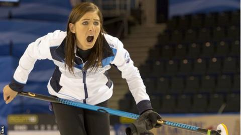 Skip Eve Muirhead makes a point to her team during the 2016 European Championships
