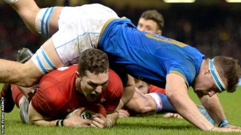 George North scores against Italy in the 2018 Six Nations