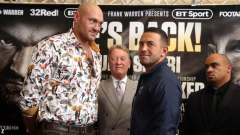 Fury (left) will hold a substantial size advantage over Seferi