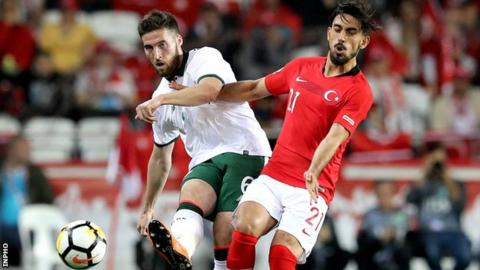 Matt Doherty battles with Turkey's Irfan Can Kahveci on his Republic debut in March