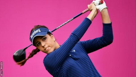 Georgia Hall in second-round action at the Evian Masters