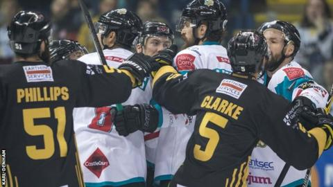 Tempers fray during the Elite League game between the Panthers and Giants