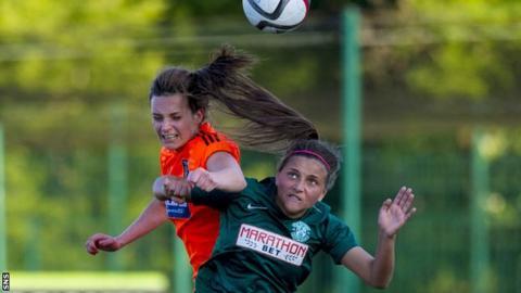 Abigail Harrison playing for Hibernian Ladies against Glasgow City