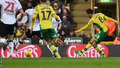 Mario Vrancic strikes to put Norwich 1-0 up against Bolton