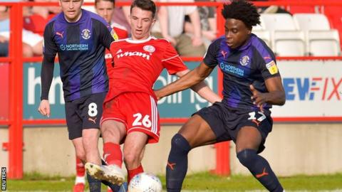 Dan Barlaser in action for Accrington Stanley against Luton Town