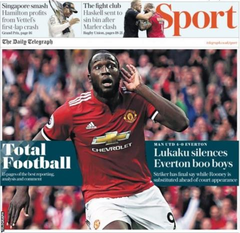But the Telegraph run with Romelu Lukaku's performance against his former club