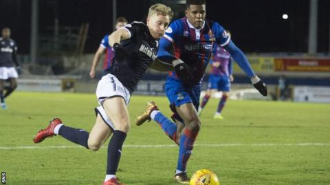 Dundee's A-Jay Leitch-Smith takes on Inverness' Ricky Calder