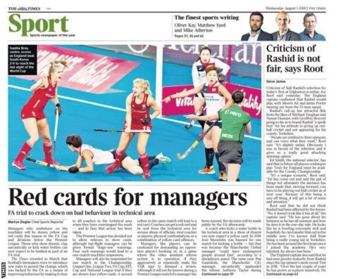Picture of the Times back page on Wednesday