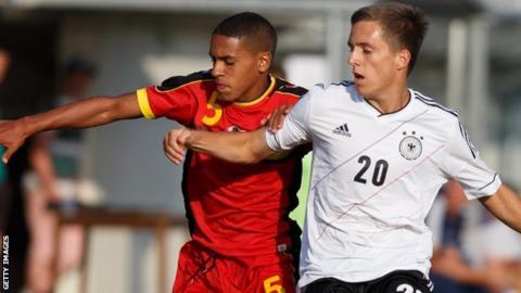Marco Weymans (left) in action for Belgium Under-17s