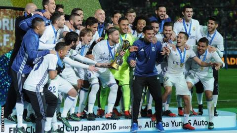 Real Madrid winning the 2016 Club World Cup