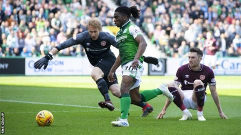 Stephane Omeonga has starred for Hibs recently, but his loan deal from Genoa expires this summer