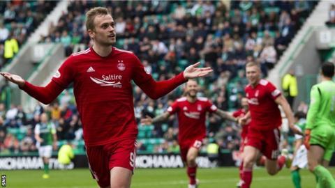 James Wilson celebrates with Aberdeen