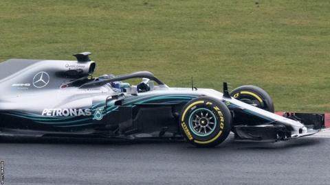 Finland's Valtteri Bottas test drives the new 2018 season Mercedes-AMG F1 W09