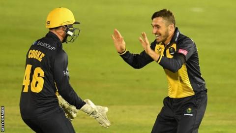 Andrew Salter celebrates wicket