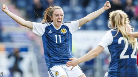 Lisa Evans celebrates opening the scoring for Scotland against Romania
