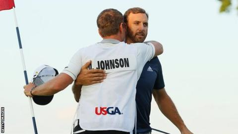 Dustin Johnson and his brother and caddie Austin at Oakmont