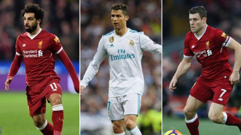 Mohamed Salah, Cristiano Ronaldo and James Milner in action this season