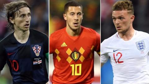 Luka Modric, Eden Hazard and Kieran Trippier in action at the World Cup