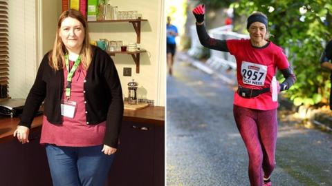 Gail Tennant before she started running (left) and at the Loch Ness Marathon in 2018 (right)